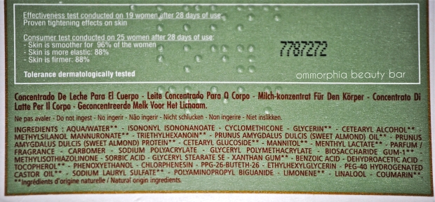 L'Occitane Milk Concentrate ingredients
