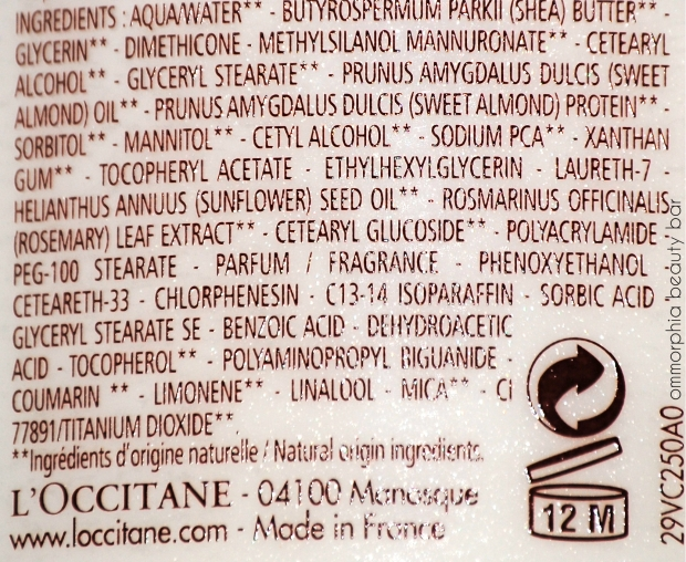 L'Occitane Milk Veil ingredients