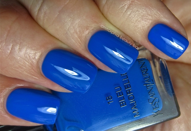 YSL Bleu Majorelle vs Essie Butler Please swatch 2